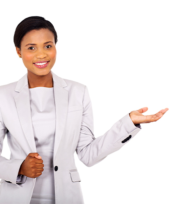 Woman in a business suite smiling with one hand up